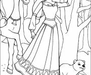 Coloring pages Barbie horse