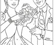 Coloring pages Barbie is offered a bouquet of flower