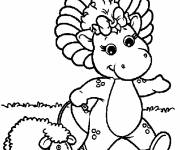 Coloring pages Baby Bop walks with his sheep