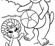 Coloring pages Barney and Baby Bop