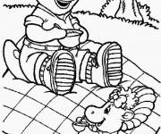 Coloring pages Barney in picnic with Baby Bop