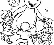 Coloring pages Barney plays with kids