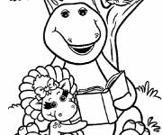 Coloring pages Barney reads a book with Baby Bop