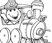Coloring pages Barney travelling by the train