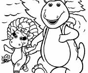 Coloring pages Barney walks with Baby Bop