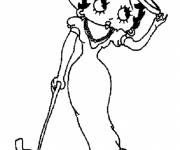 Coloring pages Betty Boop and her dog