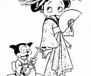 Coloring pages Betty Boop wears a kimono