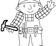 Coloring pages Bob the builder is holding a hammer