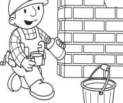 Coloring pages Bob the builder pours coffee
