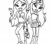 Coloring pages Bratz and Barbie