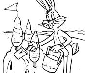 Coloring pages Bugs Bunny builds a sandcastle