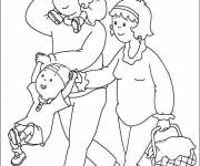 Coloring pages Caillou and his family