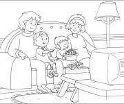 Coloring pages Caillou and his family watch TV