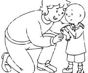 Coloring pages Caillou and his mom