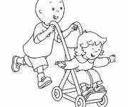 Coloring pages Caillou and his sister