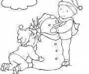 Coloring pages Caillou and his sister build the snowman