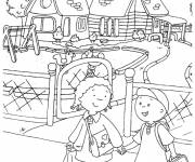 Coloring pages Caillou goes to school