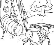 Coloring pages Caillou is having fun