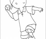 Coloring pages Caillou plays baseball