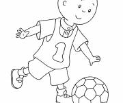 Coloring pages Caillou plays soccer