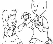 Coloring pages Caillou plays with his sister