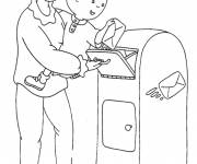 Coloring pages Caillou sends a letter