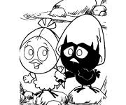 Coloring pages Calimero and his friend
