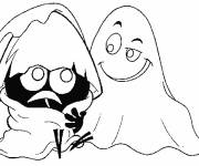 Coloring pages Calimero and the ghost