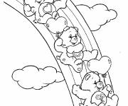 Free coloring and drawings Bears glide over the rainbow Coloring page