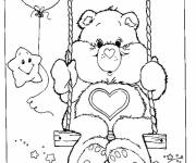 Coloring pages Bears on a swing