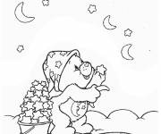 Coloring pages care bear collects the stars