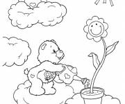 Coloring pages care bears in the clouds