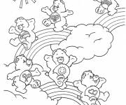 Coloring pages Care bears on the rainbow