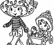 Coloring pages Cartoon Strawberry Shortcake to print