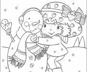 Coloring pages Color Strawberry Shortcake and snowman