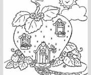 Coloring pages Shortcake house with strawberries