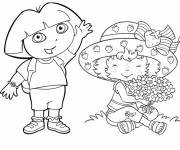 Coloring pages Strawberry Shortcake and Dora