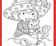 Coloring pages Strawberry Shortcake and her cat
