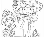 Coloring pages Strawberry Shortcake and her girlfriend eat ice cream
