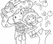 Coloring pages Strawberry Shortcake and  Huckleberry Pie near the tree