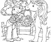 Coloring pages Strawberry Shortcake drawing with her horse