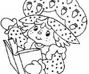 Coloring pages Strawberry Shortcake reads a book online
