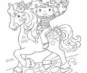 Coloring pages Strawberry Shortcake with her horse