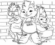 Coloring pages Chipmunks and Fashion Rock