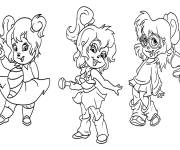 Coloring pages Chipmunks Chipettes dancing