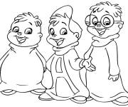 Coloring pages Chipmunks simple to color