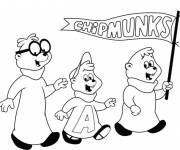 Coloring pages Easy to color chipmunks