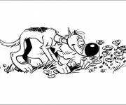 Coloring pages The dog and the flowers in color