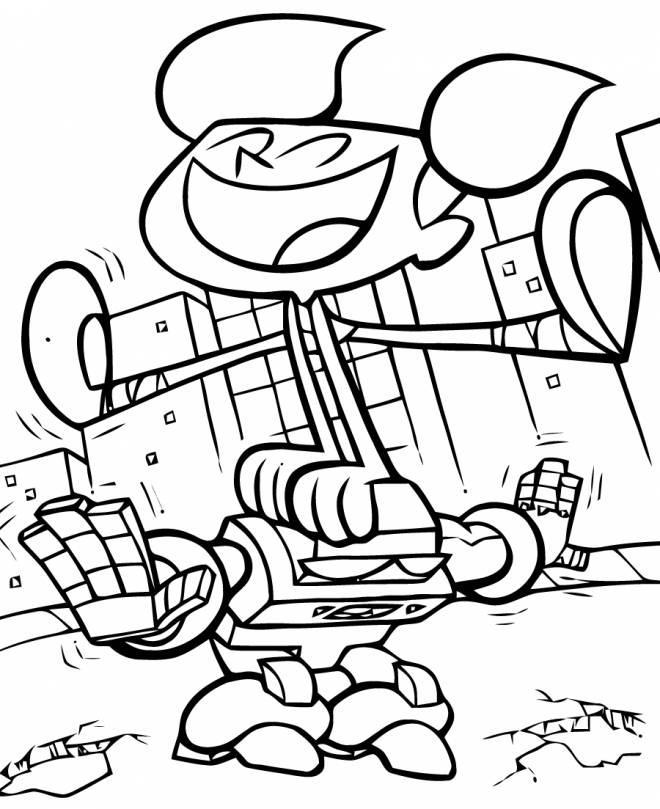 Free coloring and drawings Dexter and Dee Dee jump Coloring page