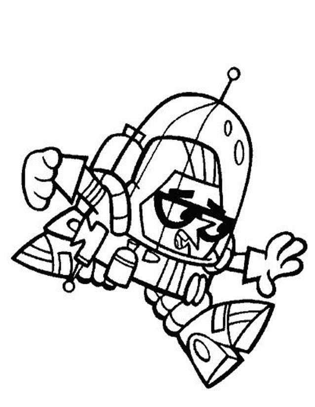 Free coloring and drawings Dexter constructs a robot Coloring page